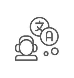 translator interpreter line icon vector image