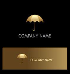 umbrella gold logo vector image