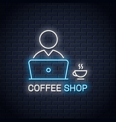 User with laptop neon banner pc user with coffee vector