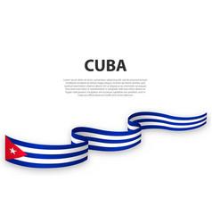 Waving ribbon or banner with flag cuba vector