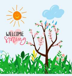 Welcome spring text for warm season postcard vector