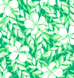 White hibiscus flowers and leaf seamless pattern vector image