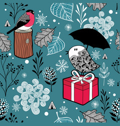 winter landscape with frozen birds and nature vector image