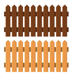 Wooden fence set on white background vector