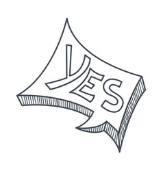 Word yes hand drawn comic speech bubble template vector