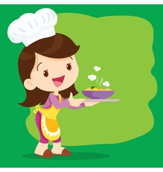 Young girl chef precent vector