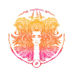 Zodiac sign portrait of a woman sagittarius vector