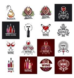 big set of logos wine grapes barrels vector image