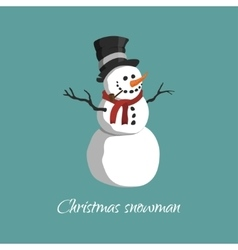 Christmas snowman in a top hat vector image