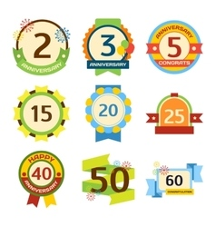 Happy birthday badges set vector image vector image