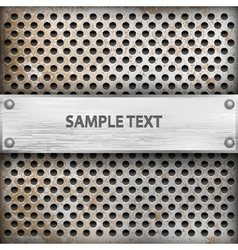 metal background with plate for text vector image vector image
