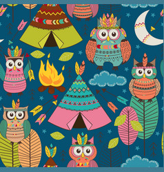 seamless pattern with tribal owls night vector image vector image