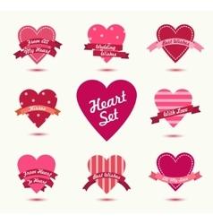 Set of hearts badges logos Retro love vector image