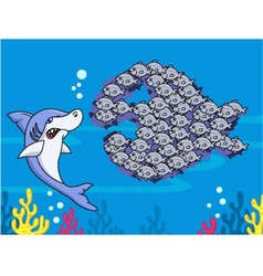 Shark and group of fish vector image
