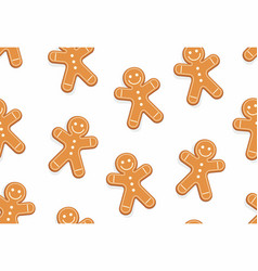 gingerbread man seamless pattern vector image vector image