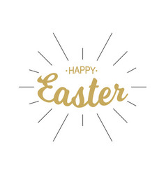 happy easter gold lettering with black rays vector image