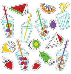 summer ogranic drinks stickers set vector image vector image