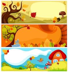 autumn card set vector image