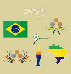 brazil flag map star game 2016 soccer football vector image