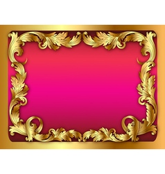 pink background of the frame with the ornament of vector image