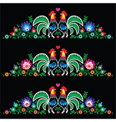 Polish folk art embroidery with roosters - traditi vector image