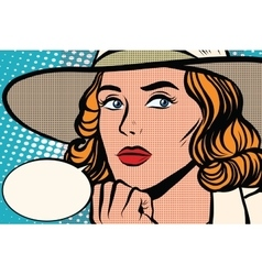 Retro lady thinks close-up vector image vector image