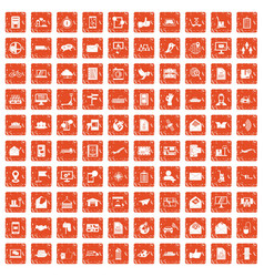 100 post and mail icons set grunge orange vector