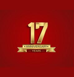 17 years anniversary golden design color vector