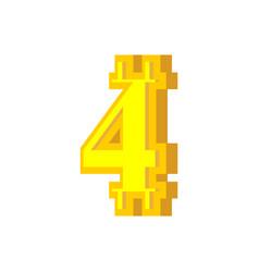4 numeral bitcoin font four numeric crypto vector image