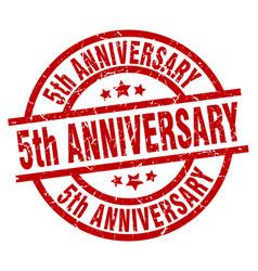 5th anniversary round red grunge stamp vector