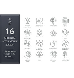 Artificial intelligence line icons set black vector