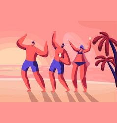beach party on exotic tropical resort young people vector image