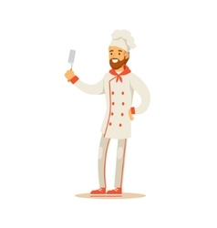 Bearded Man Professional Cooking Chef Working In vector