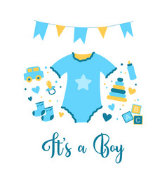 Birth of a boy hand drawn doodle vector