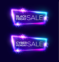 Black friday sale cyber monday neon background vector