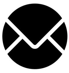 Black round envelope icon on white vector