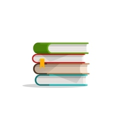 Books stacked pile and bookmark textbook stack vector image