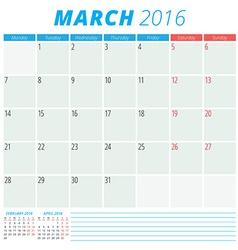 Calendar 2016 flat design template March Week vector