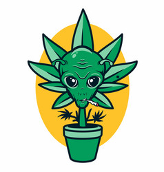 Cannabis in pot with alien face vector