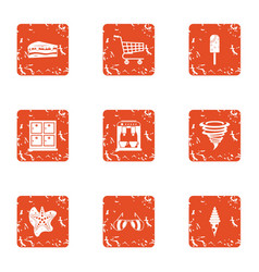 Canteen icons set grunge style vector