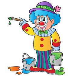 Cartoon clown artist vector