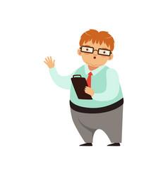Cartoon nerd character standing with paper tablet vector