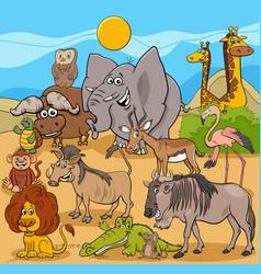 Cartoon wild animal characters group vector
