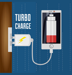Cellphone with power cable to charge the battery vector