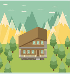 Chalet wooden house eco house house on the nature vector