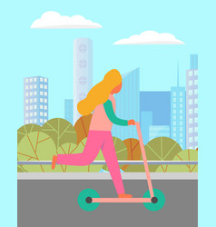 child on scooter near buildings and trees vector image