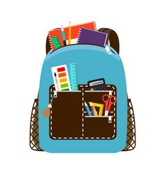 children school blue bag pack vector image