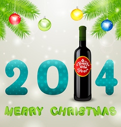 Christmas background bottle of wine and balls vector