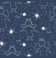 Christmas seamless pattern with angels and stars vector