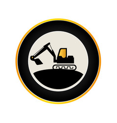 Color circular road sign with backhoe vector